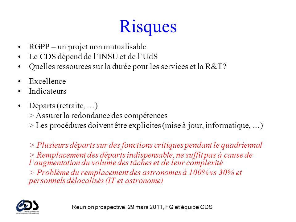 Risques RGPP – un projet non mutualisable Le CDS dépend de lINSU et de lUdS Quelles ressources sur la durée pour les services et la R&T.