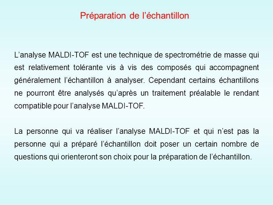 Préparation de léchantillon Lanalyse MALDI-TOF est une technique de spectrométrie de masse qui est relativement tolérante vis à vis des composés qui accompagnent généralement léchantillon à analyser.