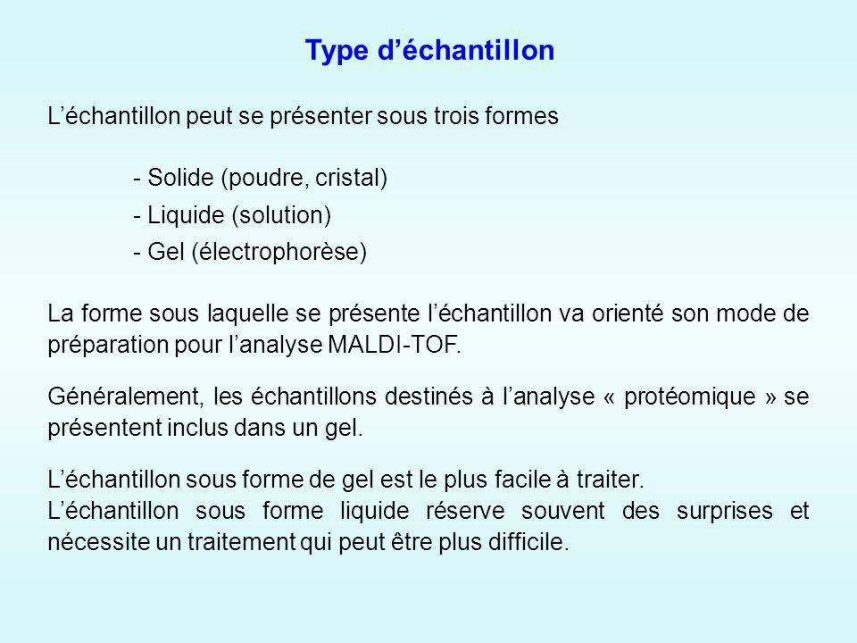 Type déchantillon Léchantillon peut se présenter sous trois formes - Solide (poudre, cristal) - Liquide (solution) - Gel (électrophorèse) La forme sous laquelle se présente léchantillon va orienté son mode de préparation pour lanalyse MALDI-TOF.