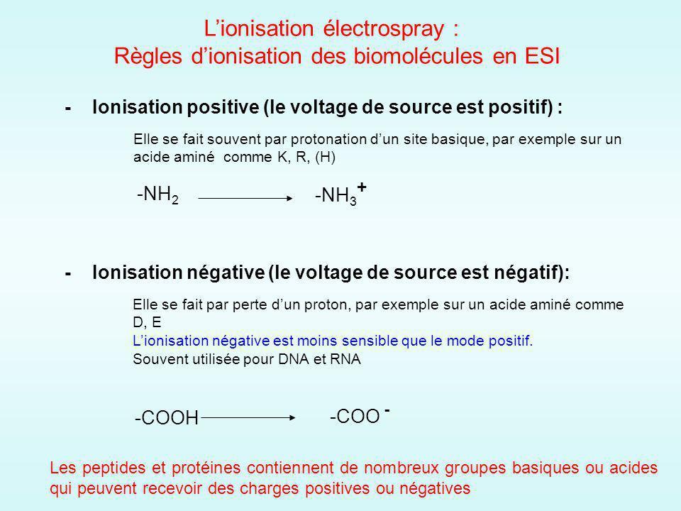 Elle se fait souvent par protonation dun site basique, par exemple sur un acide aminé comme K, R, (H) - Ionisation positive (le voltage de source est positif) : - Ionisation négative (le voltage de source est négatif): Elle se fait par perte dun proton, par exemple sur un acide aminé comme D, E Lionisation négative est moins sensible que le mode positif.