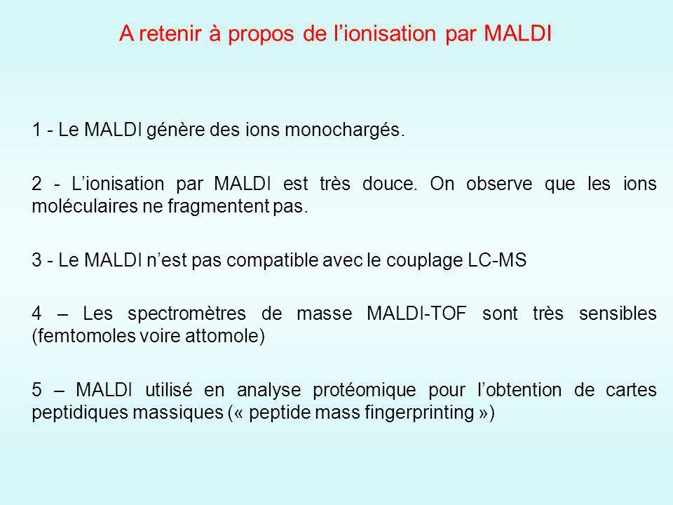 1 - Le MALDI génère des ions monochargés.2 - Lionisation par MALDI est très douce.