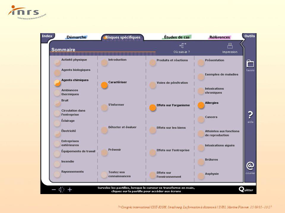 7 è Congrès international CIST-ICOH, Strasbourg. La formation à distance à lINRS, Martine Plawner, 15/09/05 - 13/27