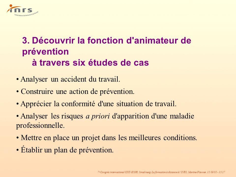 7 è Congrès international CIST-ICOH, Strasbourg. La formation à distance à lINRS, Martine Plawner, 15/09/05 - 15/27 3.Découvrir la fonction d'animateu