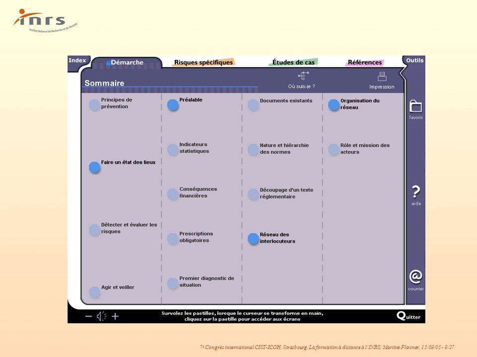 7 è Congrès international CIST-ICOH, Strasbourg. La formation à distance à lINRS, Martine Plawner, 15/09/05 - 9/27