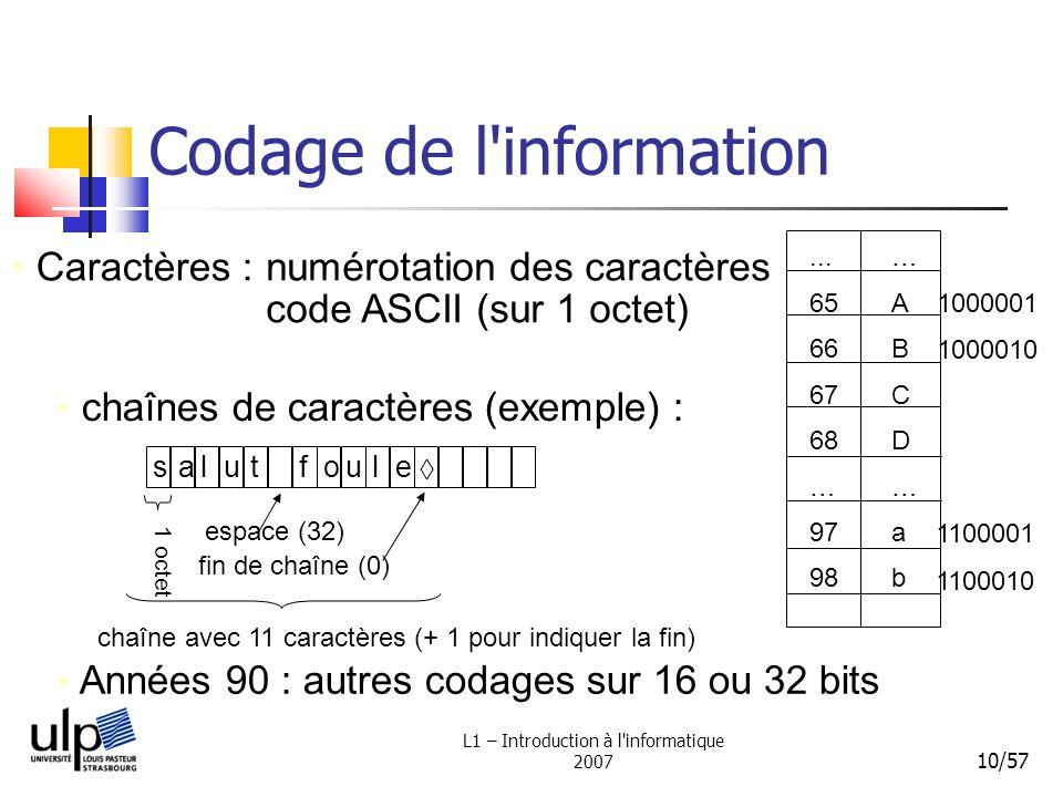 L1 – Introduction à l'informatique 2007 10/57 Codage de l'information Caractères : chaînes de caractères (exemple) : numérotation des caractères code