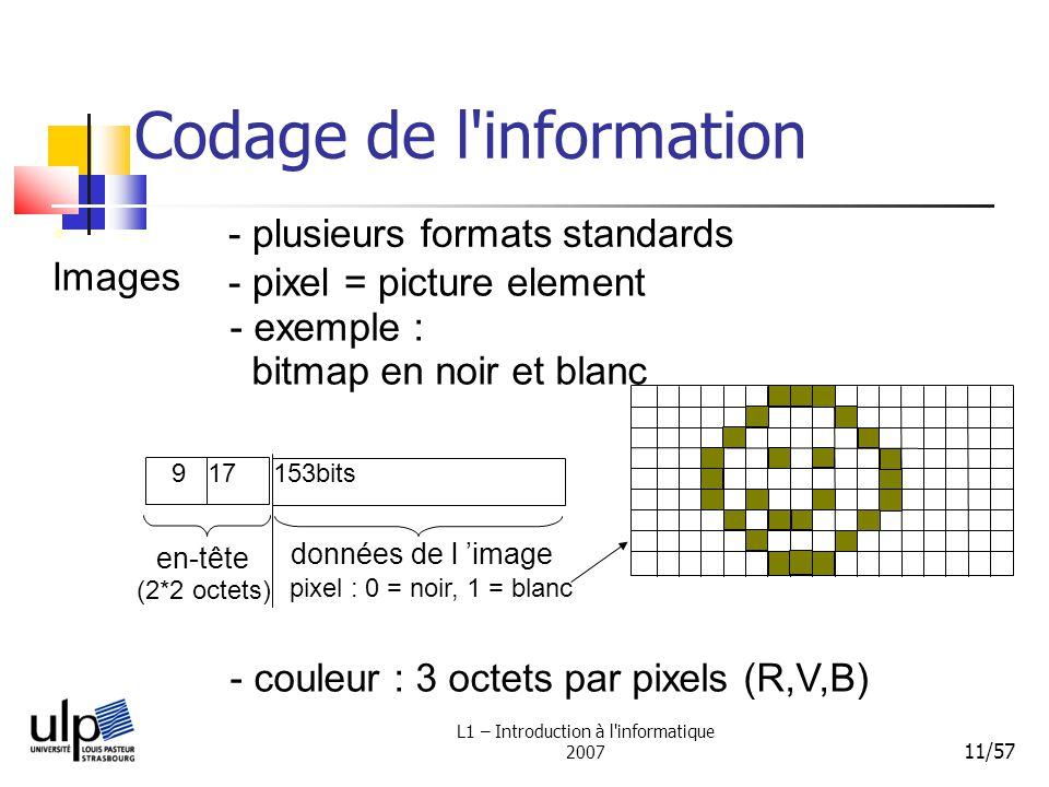 L1 – Introduction à l'informatique 2007 11/57 Codage de l'information Images - plusieurs formats standards - exemple : bitmap en noir et blanc - coule