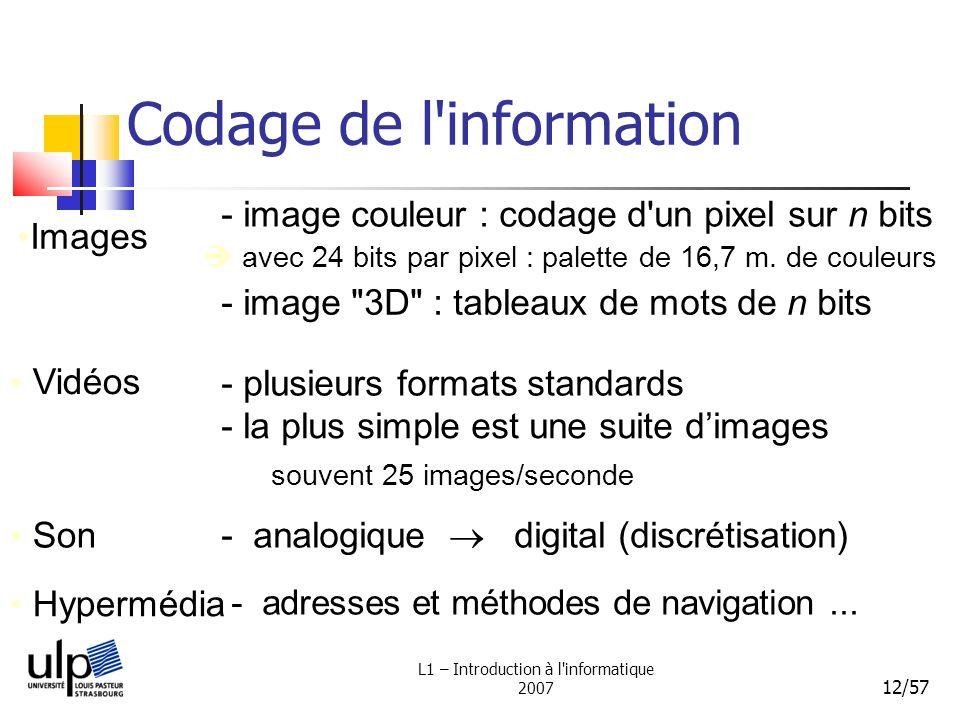 L1 – Introduction à l'informatique 2007 12/57 Codage de l'information Images - image couleur : codage d'un pixel sur n bits Vidéos - la plus simple es