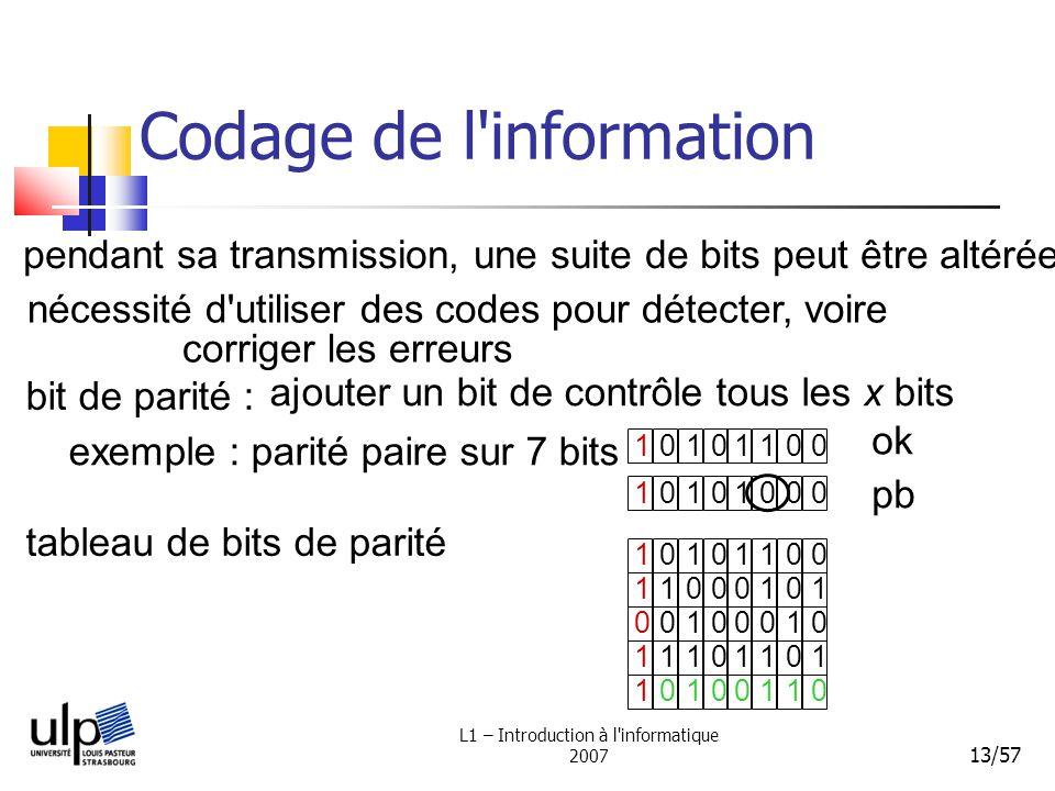 L1 – Introduction à l'informatique 2007 13/57 Codage de l'information bit de parité : tableau de bits de parité 10101100 ajouter un bit de contrôle to