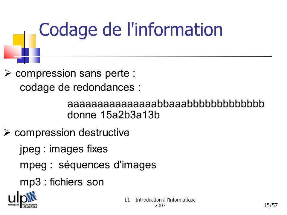 L1 – Introduction à l'informatique 2007 15/57 Codage de l'information codage de redondances : compression destructive compression sans perte : jpeg :