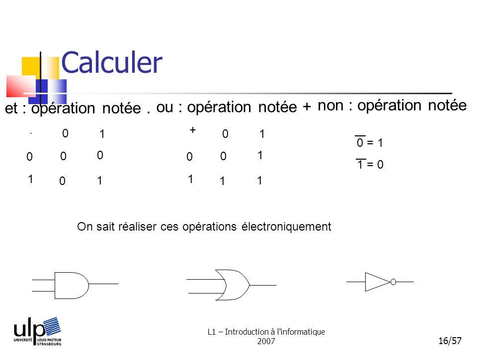 L1 – Introduction à l'informatique 2007 16/57 Calculer et : opération notée.. 0 1 0 1 0 0 0 1 ou : opération notée + + 0 1 0 1 0 1 1 1 non : opération