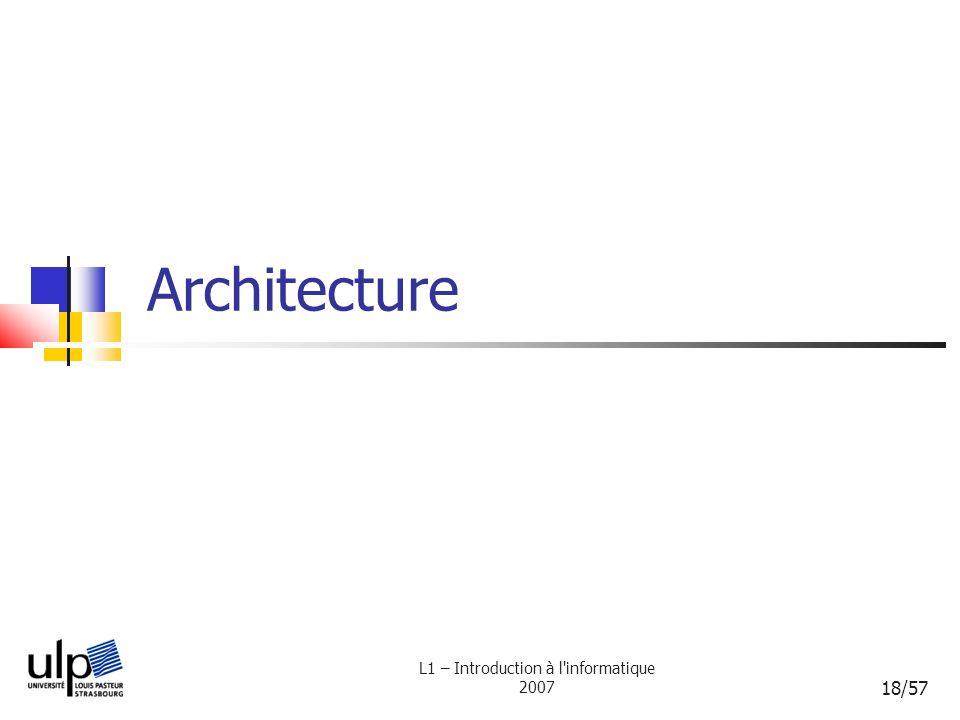 L1 – Introduction à l'informatique 2007 18/57 Architecture