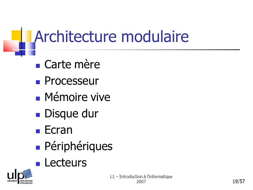 L1 – Introduction à l'informatique 2007 19/57 Architecture modulaire Carte mère Processeur Mémoire vive Disque dur Ecran Périphériques Lecteurs