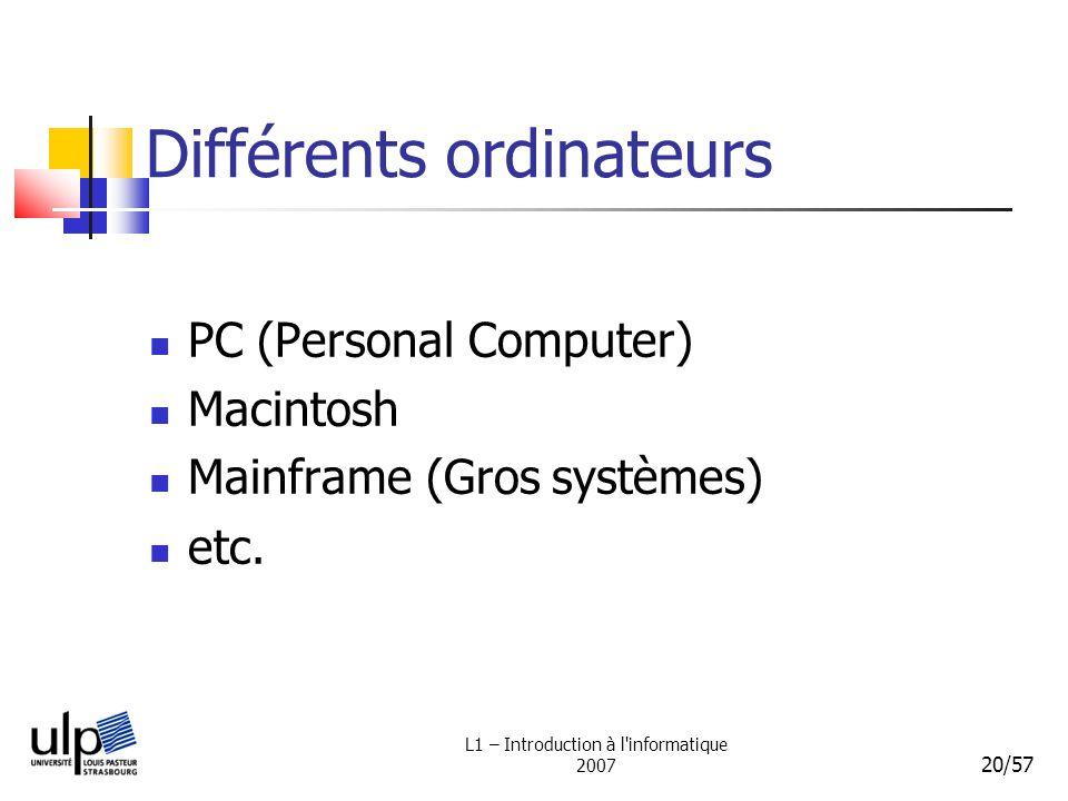 L1 – Introduction à l'informatique 2007 20/57 Différents ordinateurs PC (Personal Computer) Macintosh Mainframe (Gros systèmes) etc.