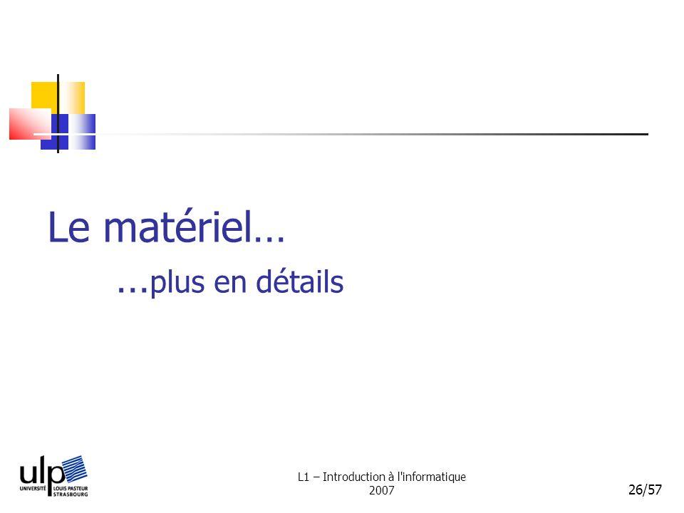 L1 – Introduction à l'informatique 2007 26/57 Le matériel… … plus en détails