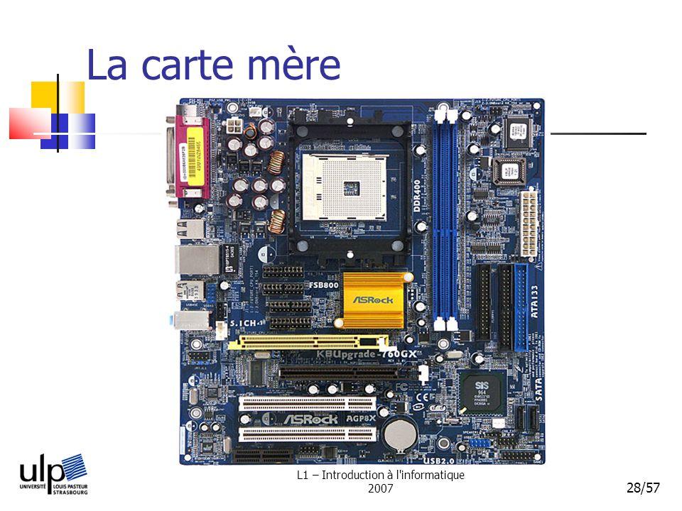 L1 – Introduction à l'informatique 2007 28/57 La carte mère
