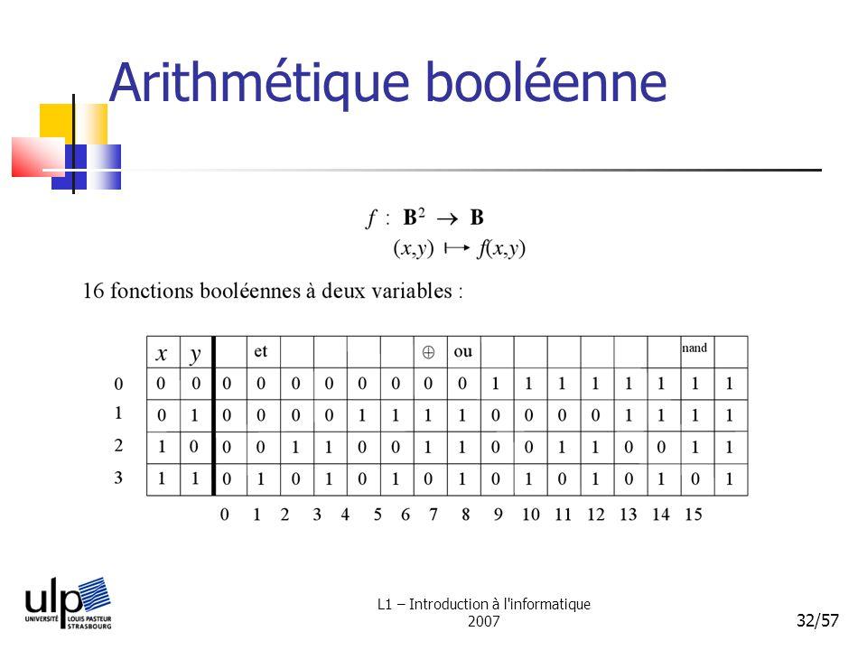 L1 – Introduction à l'informatique 2007 32/57 Arithmétique booléenne