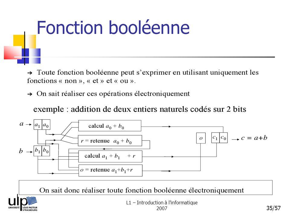 L1 – Introduction à l'informatique 2007 35/57 Fonction booléenne