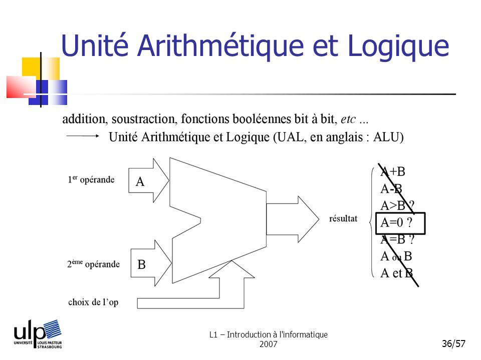 L1 – Introduction à l'informatique 2007 36/57 Unité Arithmétique et Logique