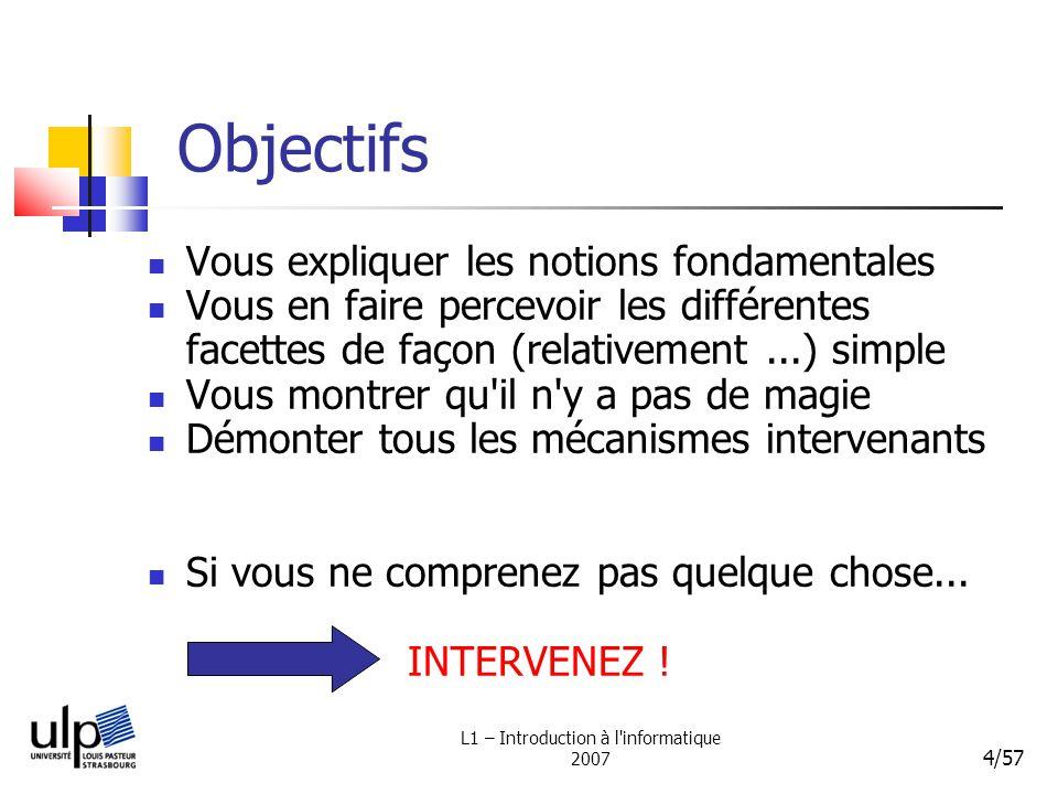 L1 – Introduction à l informatique 2007 75/57 Lecteurs CDROM / DVDROM (et graveurs...) Disquette Bandes magnétiques (sauvegardes) Lecteurs de cartes mémoires