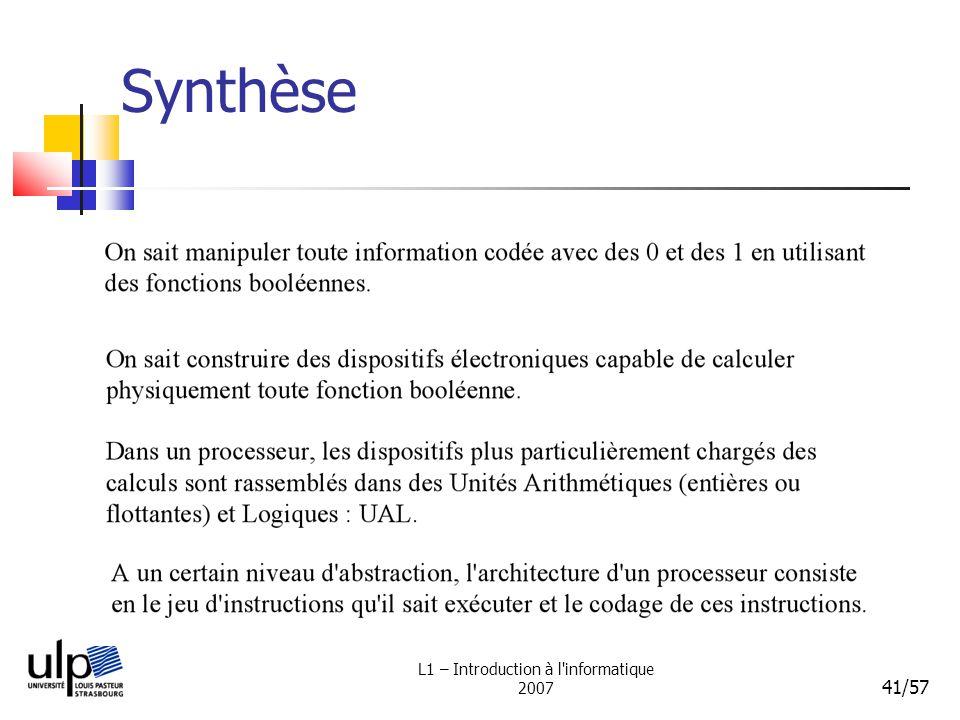L1 – Introduction à l'informatique 2007 41/57 Synthèse