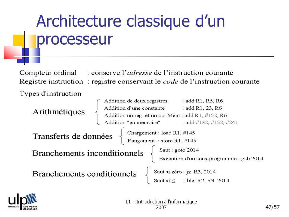 L1 – Introduction à l'informatique 2007 47/57 Architecture classique dun processeur