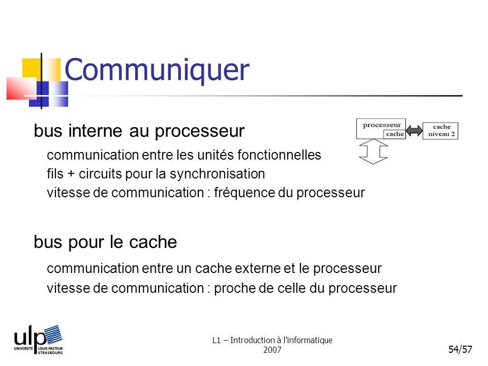 L1 – Introduction à l'informatique 2007 54/57 Communiquer bus interne au processeur bus pour le cache communication entre les unités fonctionnelles fi