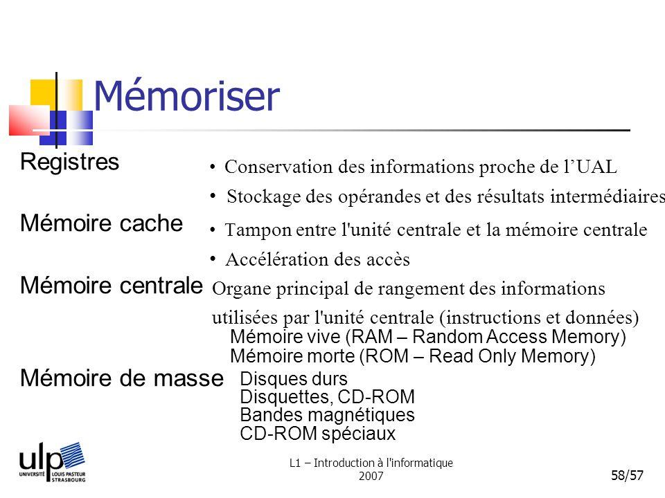L1 – Introduction à l'informatique 2007 58/57 Mémoriser Registres Conservation des informations proche de lUAL Stockage des opérandes et des résultats