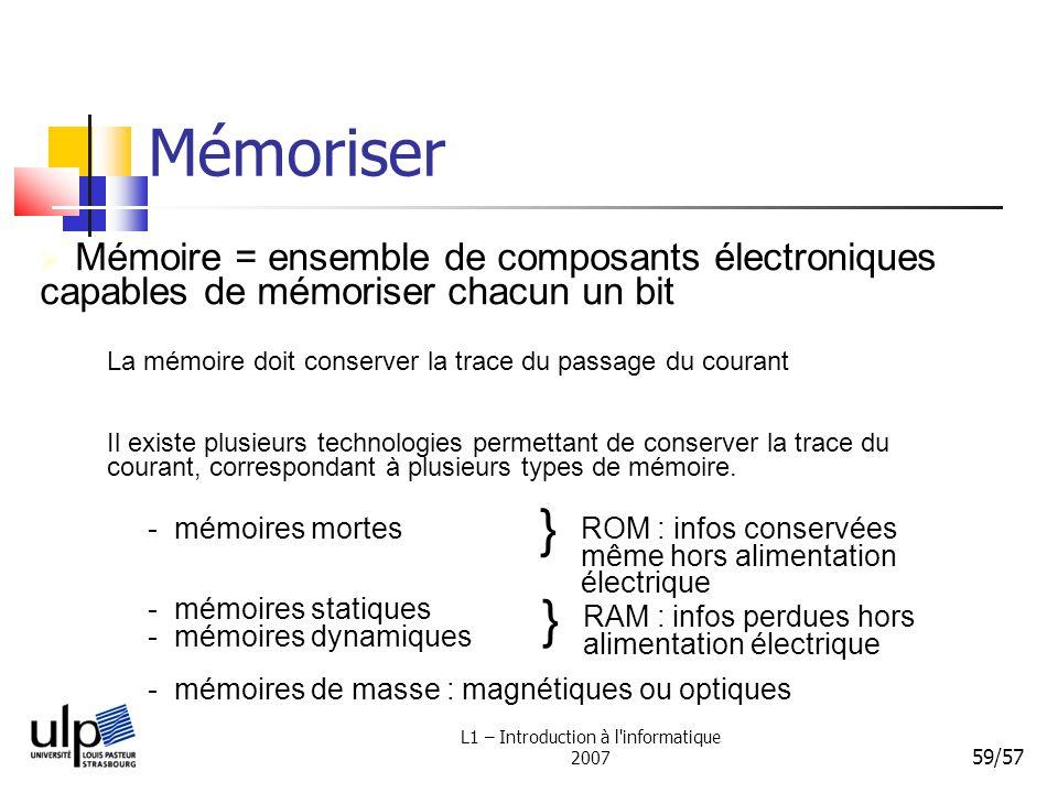L1 – Introduction à l'informatique 2007 59/57 Mémoriser La mémoire doit conserver la trace du passage du courant Mémoire = ensemble de composants élec