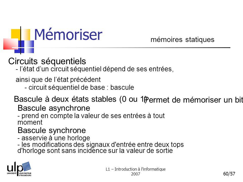 L1 – Introduction à l'informatique 2007 60/57 Mémoriser mémoires statiques Circuits séquentiels - létat dun circuit séquentiel dépend de ses entrées,