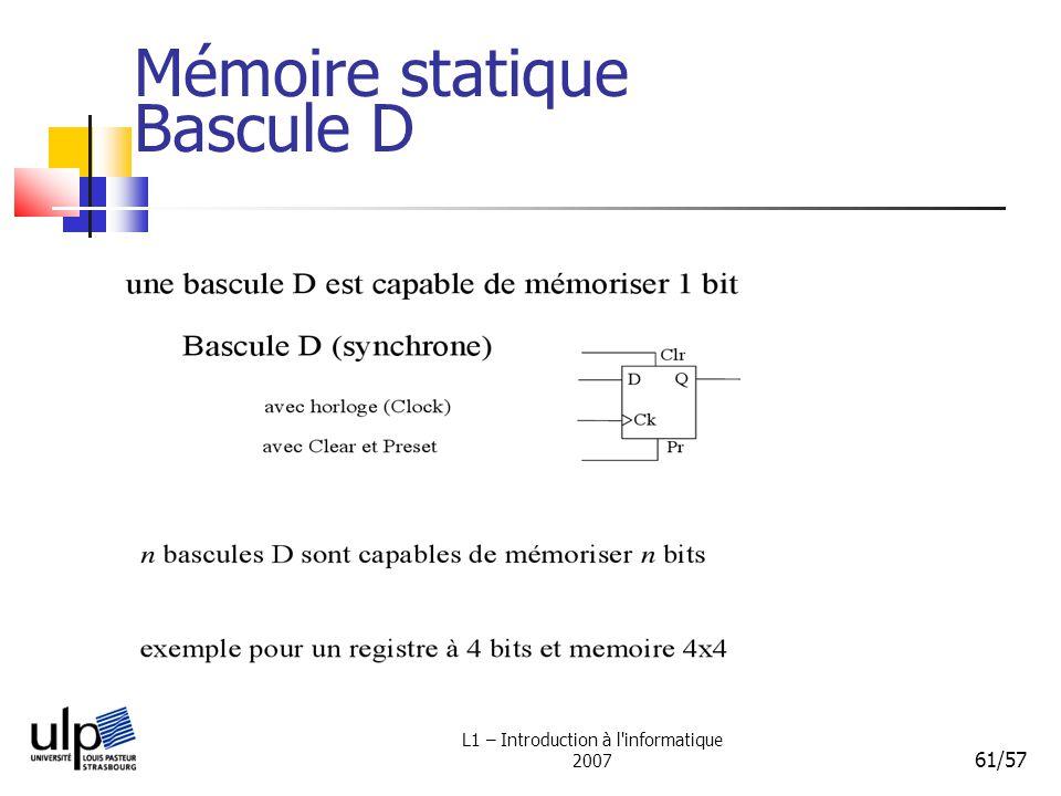 L1 – Introduction à l'informatique 2007 61/57 Mémoire statique Bascule D