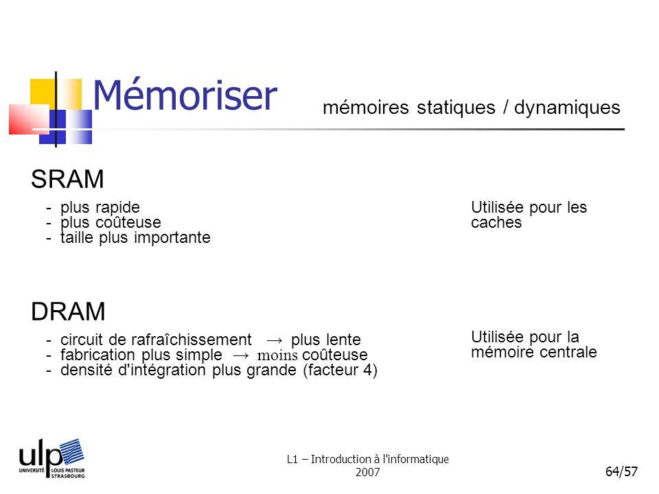 L1 – Introduction à l'informatique 2007 64/57 Mémoriser mémoires statiques / dynamiques SRAM - plus rapide - plus coûteuse - taille plus importante DR