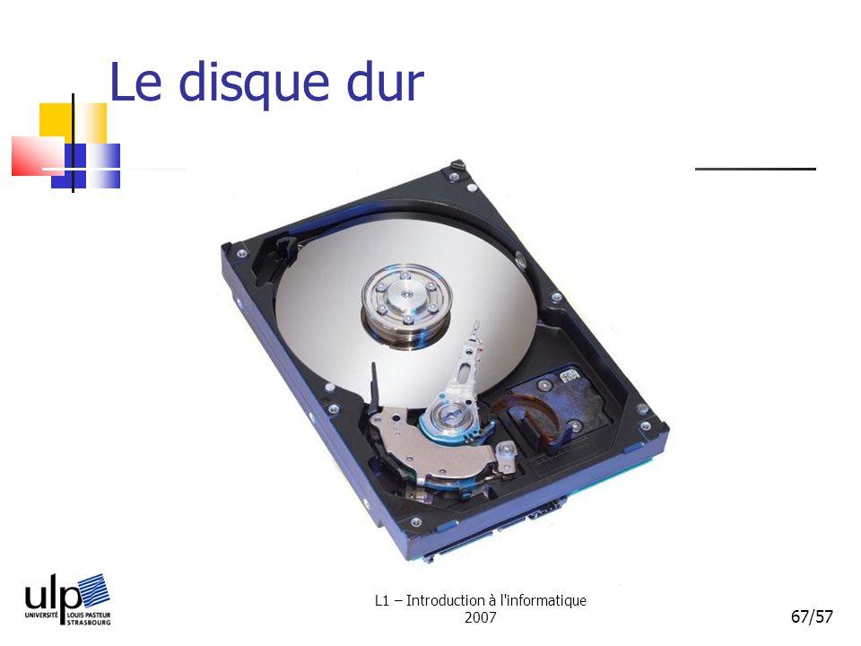 L1 – Introduction à l'informatique 2007 67/57 Le disque dur