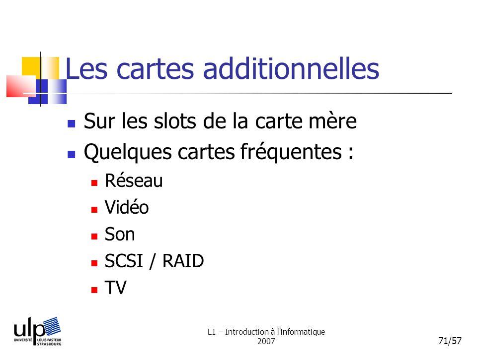 L1 – Introduction à l'informatique 2007 71/57 Les cartes additionnelles Sur les slots de la carte mère Quelques cartes fréquentes : Réseau Vidéo Son S