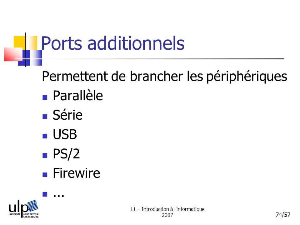 L1 – Introduction à l'informatique 2007 74/57 Ports additionnels Permettent de brancher les périphériques Parallèle Série USB PS/2 Firewire...
