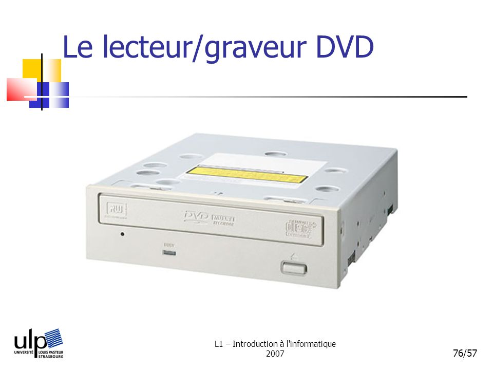 L1 – Introduction à l informatique 2007 76/57 Le lecteur/graveur DVD