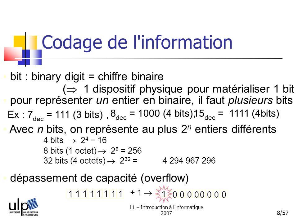 L1 – Introduction à l informatique 2007 9/57 Codage de l information Complément à 2: plus complexe bit de signe (simple) 10101100 - 44 4832 ++ = 44 Signe - 44 = 00101100 - 44 = 10101100 11011000 0 Problème