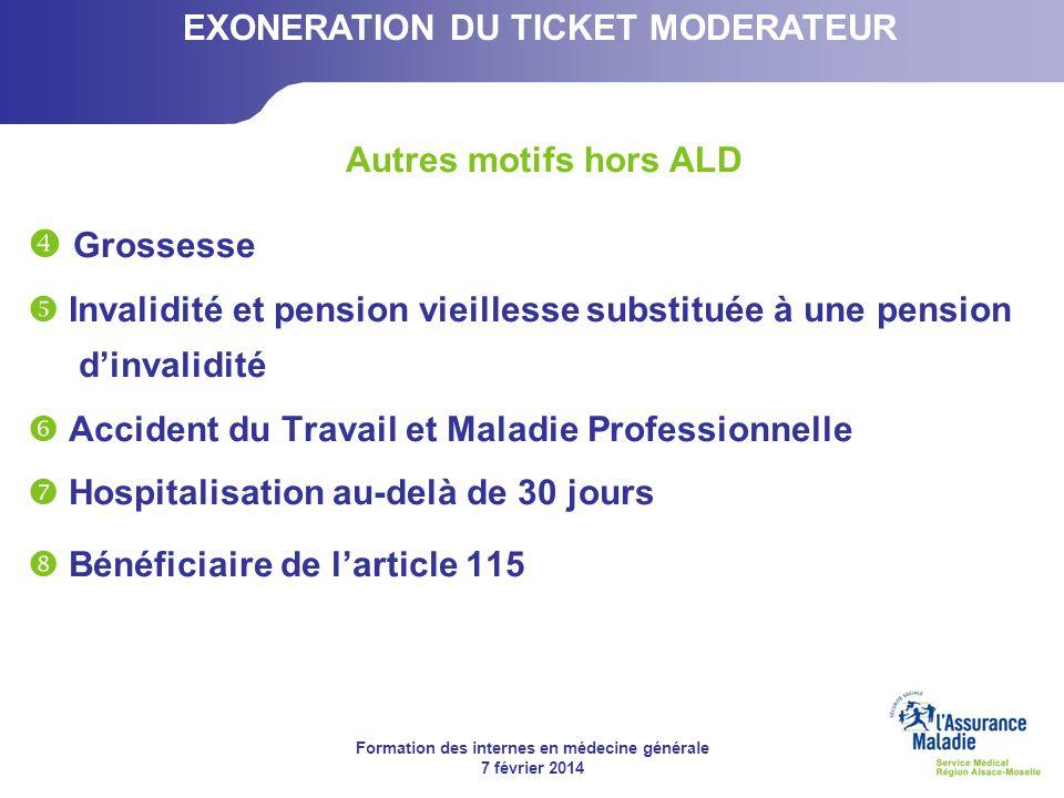 Formation des internes en médecine générale 7 février 2014 Grossesse Invalidité et pension vieillesse substituée à une pension dinvalidité Accident du