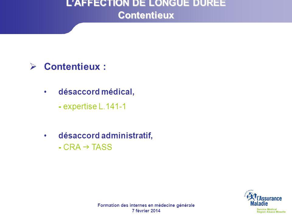 Formation des internes en médecine générale 7 février 2014 Contentieux : désaccord médical, - expertise L.141-1 désaccord administratif, - CRA TASS LA