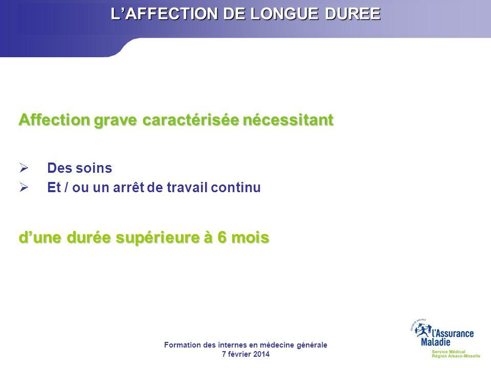 Formation des internes en médecine générale 7 février 2014 LAFFECTION DE LONGUE DUREE Affection grave caractérisée nécessitant Des soins Et / ou un ar