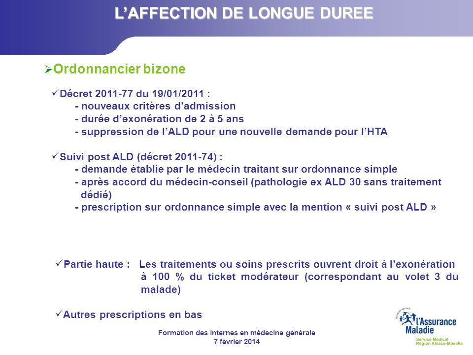 Formation des internes en médecine générale 7 février 2014 Partie haute : Les traitements ou soins prescrits ouvrent droit à lexonération à 100 % du t