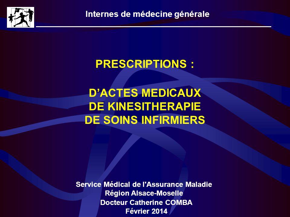 Internes de médecine générale Service Médical de l'Assurance Maladie Région Alsace-Moselle PRESCRIPTIONS : Docteur Catherine COMBA Février 2014 DACTES