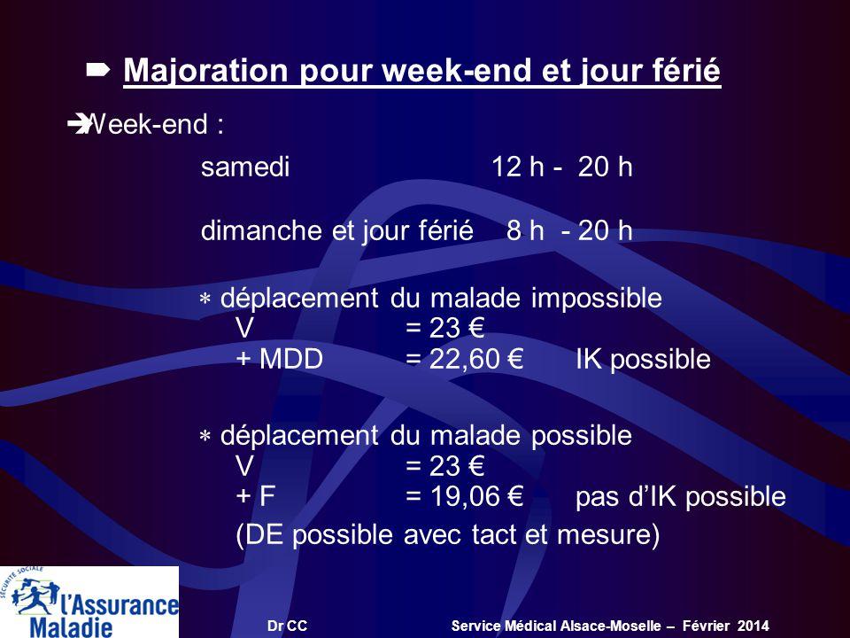 Dr CC Service Médical Alsace-Moselle – Février 2014 Majoration pour week-end et jour férié Week-end : samedi12 h - 20 h dimanche et jour férié 8 h - 2