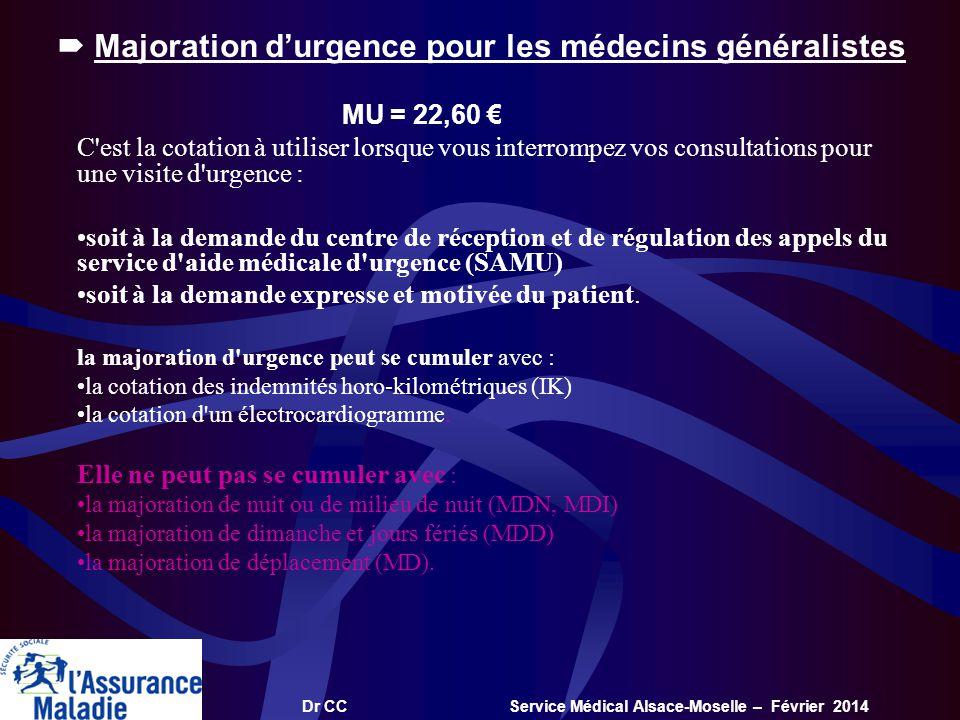 Dr CC Service Médical Alsace-Moselle – Février 2014 Majoration durgence pour les médecins généralistes MU = 22,60 C'est la cotation à utiliser lorsque