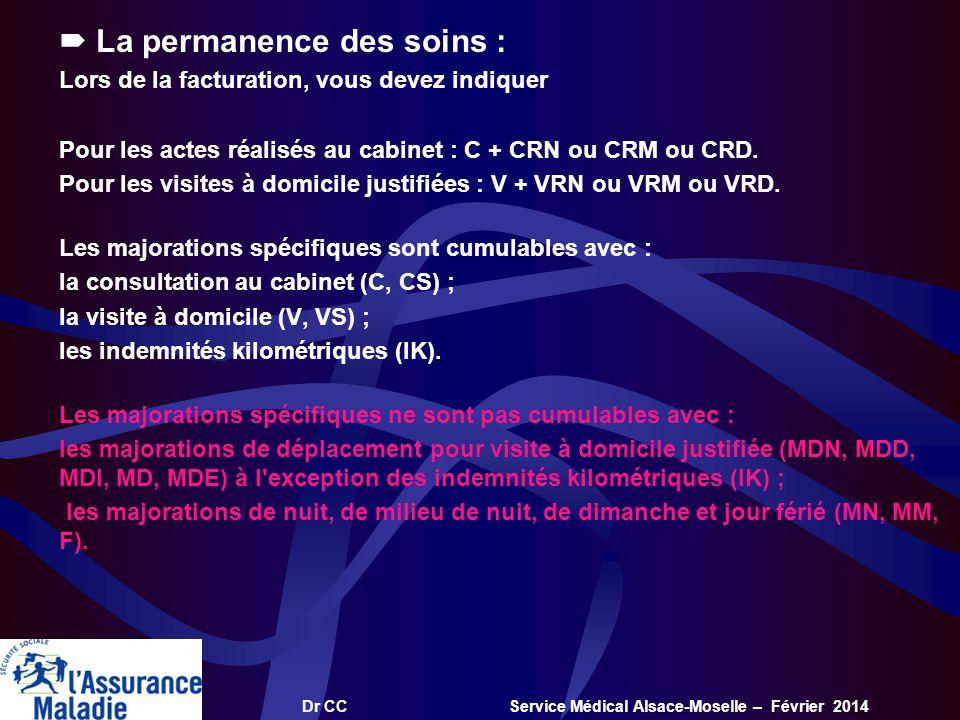 Dr CC Service Médical Alsace-Moselle – Février 2014 La permanence des soins : Lors de la facturation, vous devez indiquer Pour les actes réalisés au c