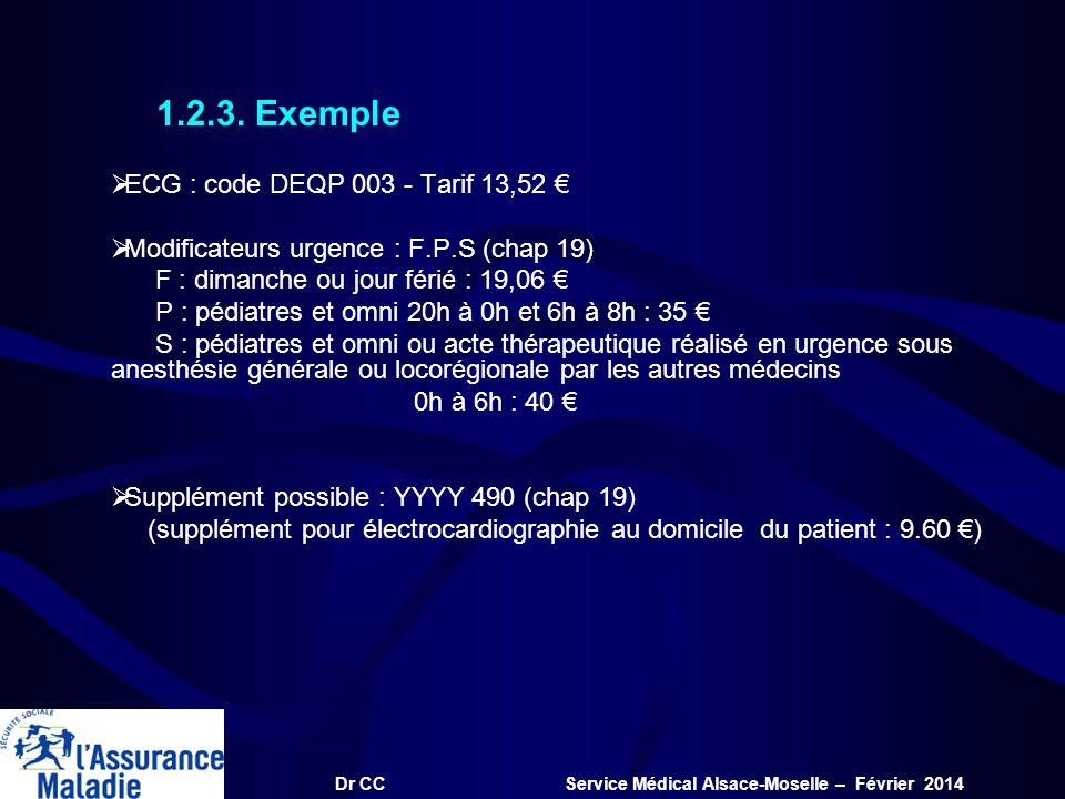 Dr CC Service Médical Alsace-Moselle – Février 2014 1.2.3. Exemple ECG : code DEQP 003 - Tarif 13,52 Modificateurs urgence : F.P.S (chap 19) F : diman