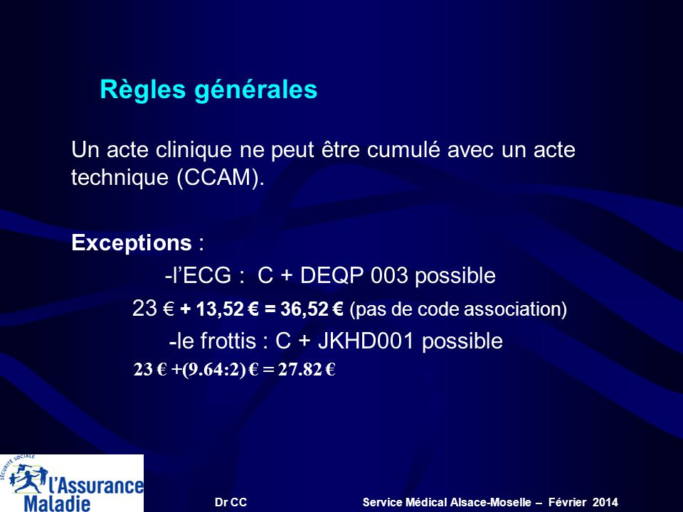 Dr CC Service Médical Alsace-Moselle – Février 2014 Règles générales Un acte clinique ne peut être cumulé avec un acte technique (CCAM). Exceptions :