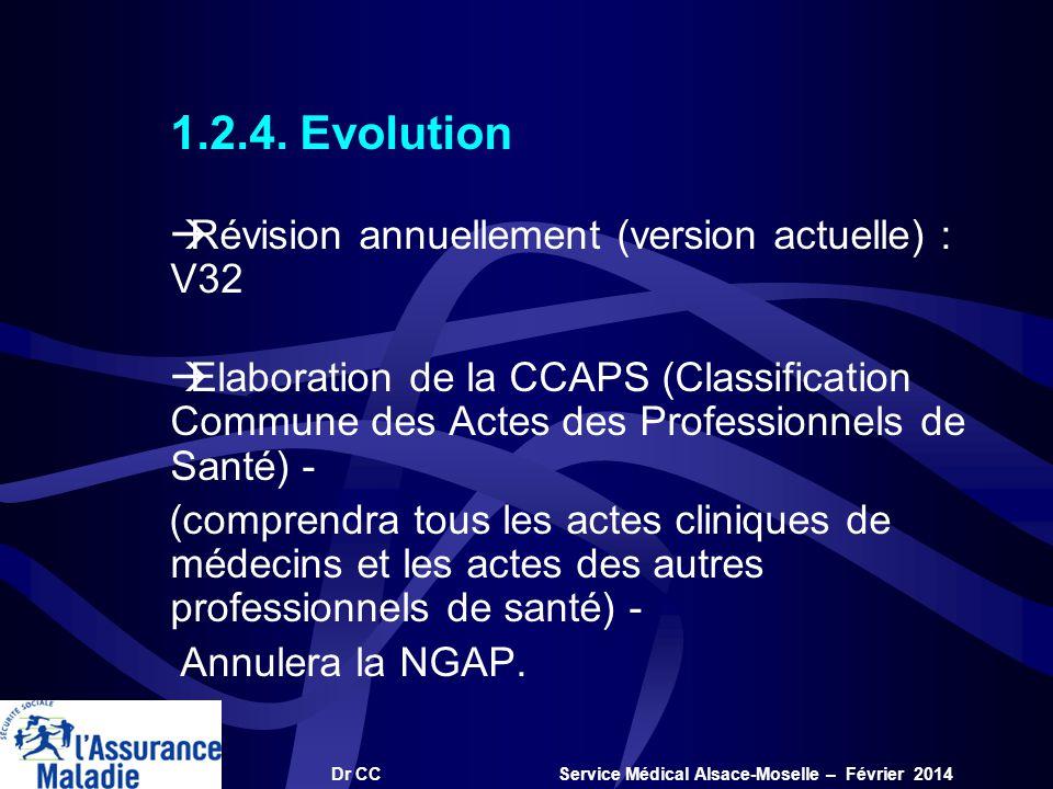 Dr CC Service Médical Alsace-Moselle – Février 2014 1.2.4. Evolution àRévision annuellement (version actuelle) : V32 àElaboration de la CCAPS (Classif