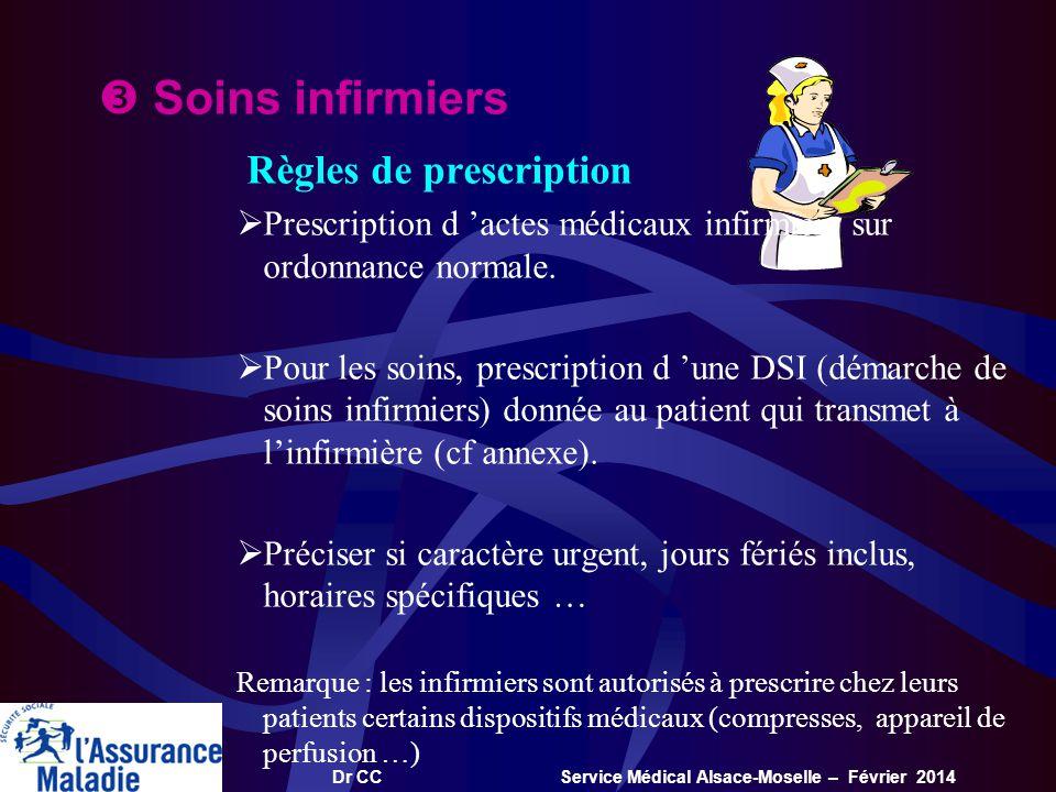 Dr CC Service Médical Alsace-Moselle – Février 2014 Soins infirmiers Règles de prescription Prescription d actes médicaux infirmiers sur ordonnance no