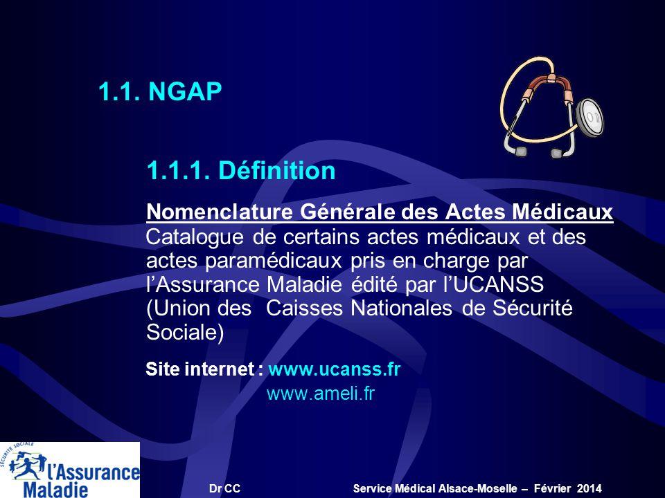 Dr CC Service Médical Alsace-Moselle – Février 2014 1.1.1. Définition Nomenclature Générale des Actes Médicaux Catalogue de certains actes médicaux et