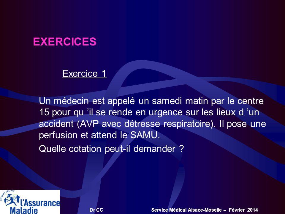 Dr CC Service Médical Alsace-Moselle – Février 2014 EXERCICES Exercice 1 Un médecin est appelé un samedi matin par le centre 15 pour qu il se rende en